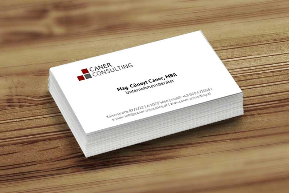 Caner Consulting Visitenkarten Startup Design Wien