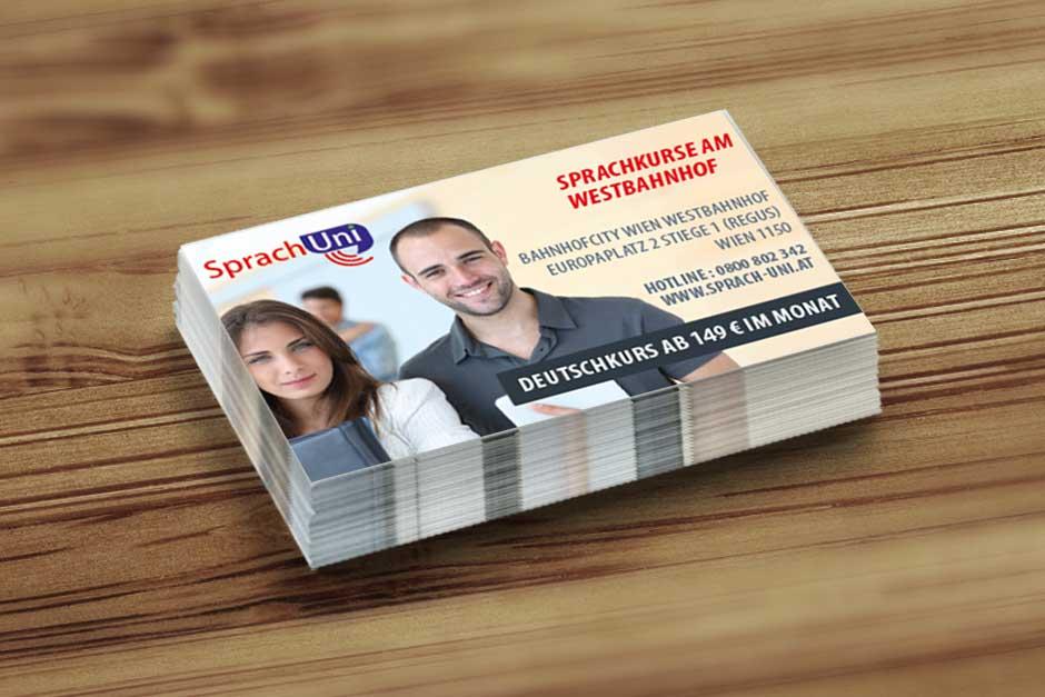 Visitenkarten Sprachuni Startup Design Wien