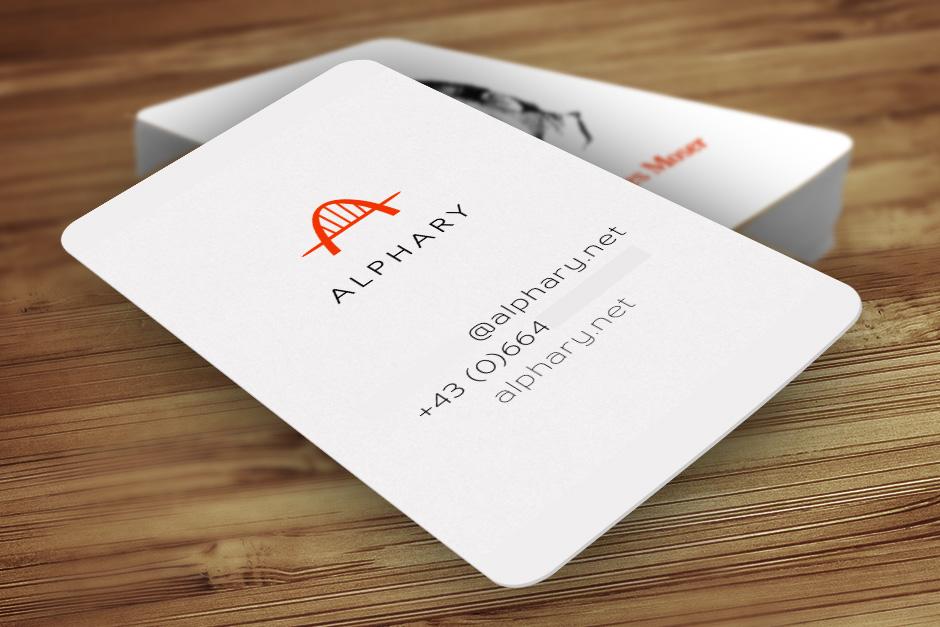 Visitenkarten Alphary Startup Design Wien